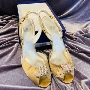 Stuart Weitzman Gold Ankle Strap Heels